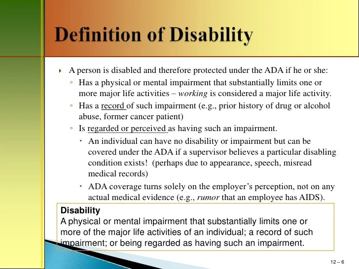Mm411 chapter 12 disability discrimination power point outline
