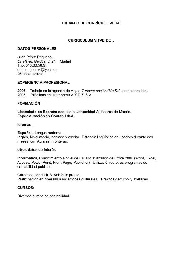 Ejemplo De Curriculum Vitae De Una Empresa Cv Format For Teaching
