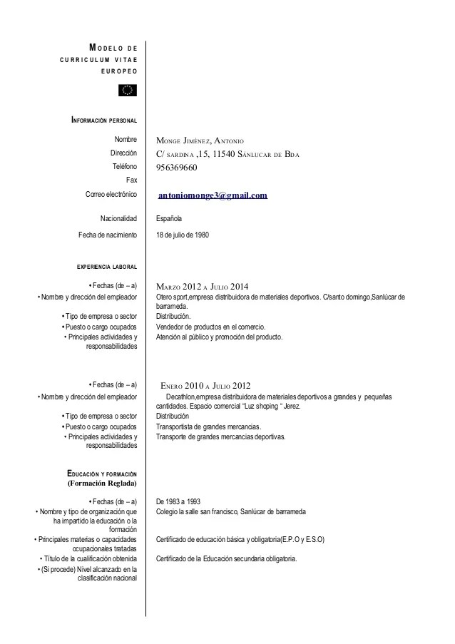 Modello Cv Europass English Sample Service Resume