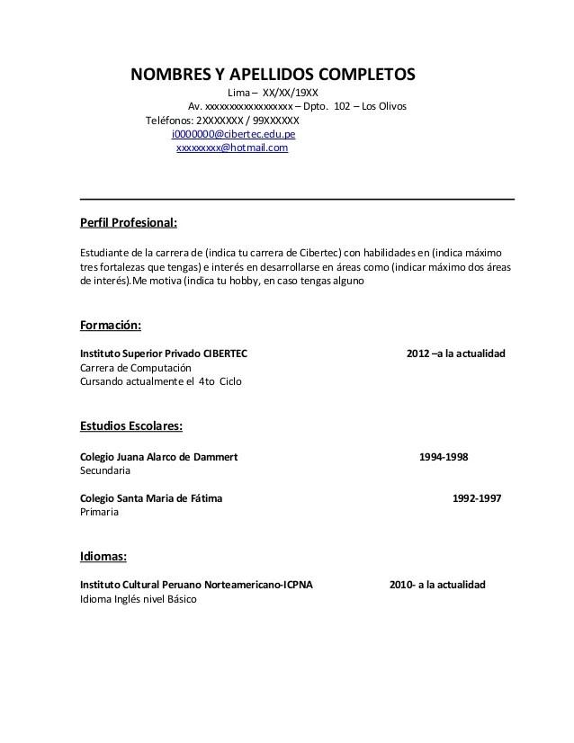 Modelo De Curriculum Vitae 2016 En Peru Sample Template