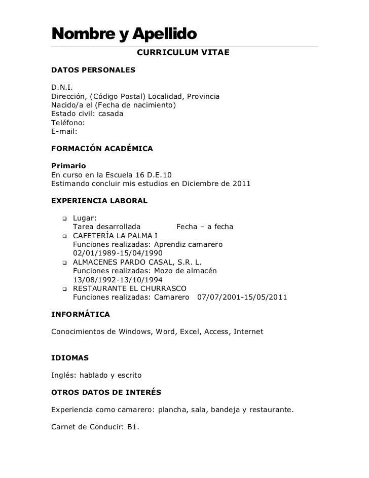 Formato De Curriculum Vitae Basico Para Llenar Sample Resume Service