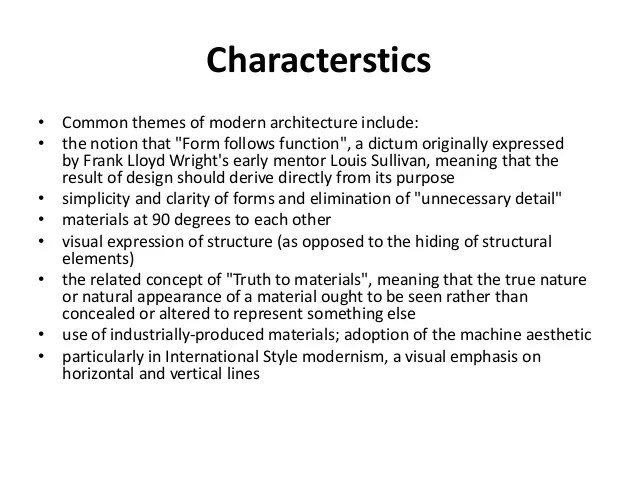Modernism & postmodernism in architecture