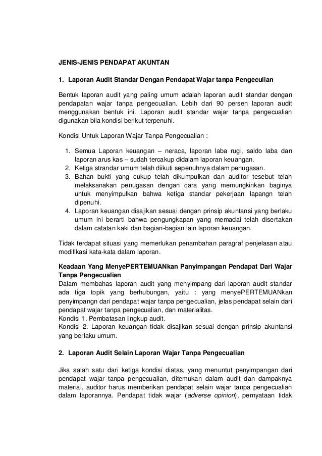 Contoh Laporan Audit Wajar Tanpa Pengecualian Kumpulan Contoh Laporan Cute766