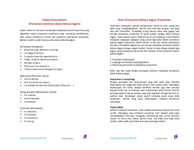 Contoh Pembukaan Presentasi Menggunakan Bahasa Inggris Barisan Contoh Cute766