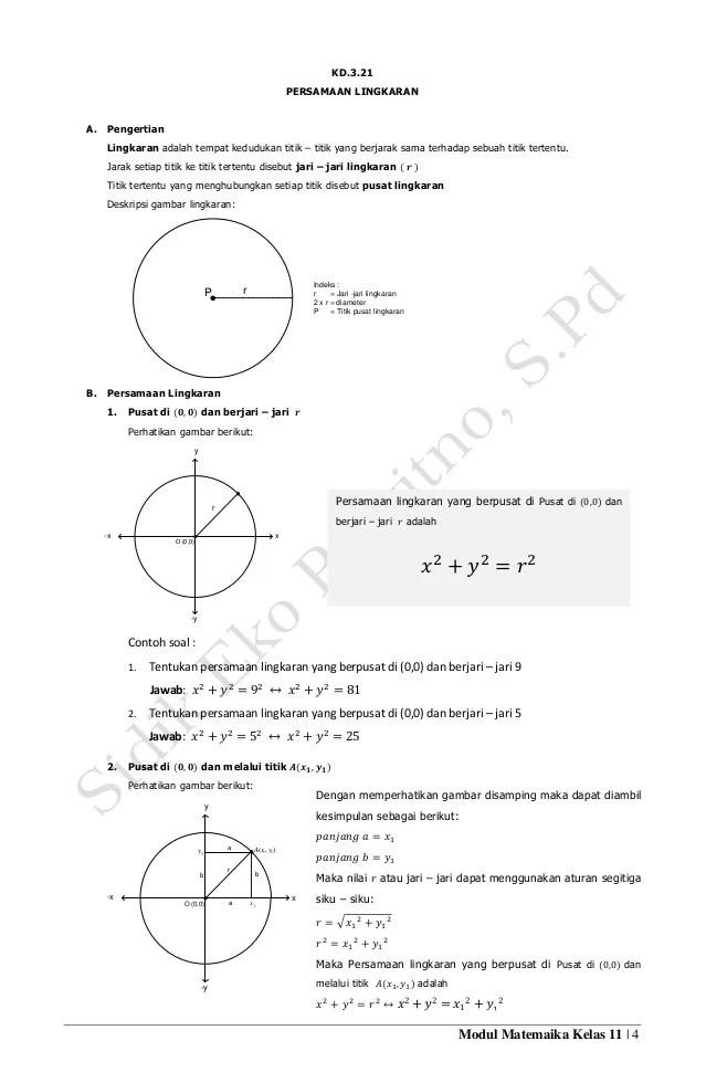 Contoh Soal Lingkaran Kelas 11 : contoh, lingkaran, kelas, Modul, Kd.3.21., Persamaan, Lingkaran, SMA/SMK, Kelas