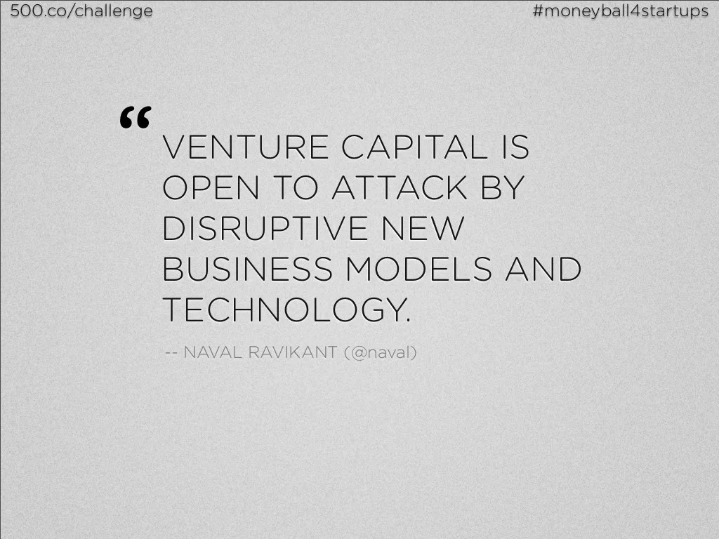 "500.co/challenge #moneyball4startups "" VENTURE CAPITAL"