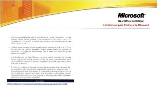 Microsoft OpenOffice Battle Card Español
