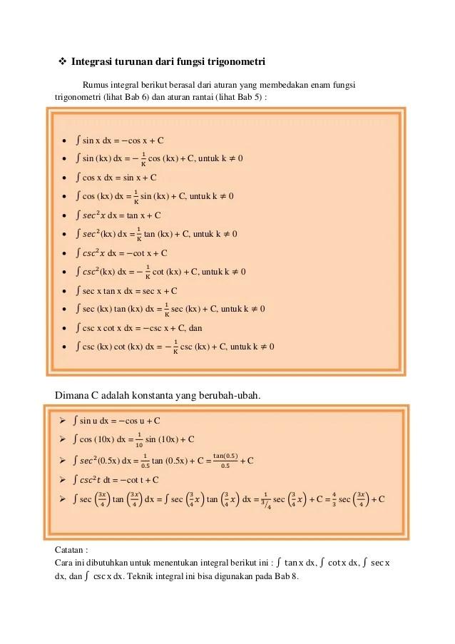 1.1 definisi integral tak tentu (indefinite integral) jika maka y adalah fungsi yang mempunyai turunan f (x)dan disebut anti turunan. Kalkulus Mtk