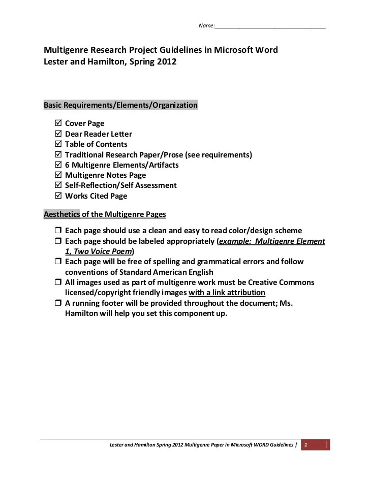 Multigenre Projects In Microsoft Word Hamilton And Lester Spring 2012