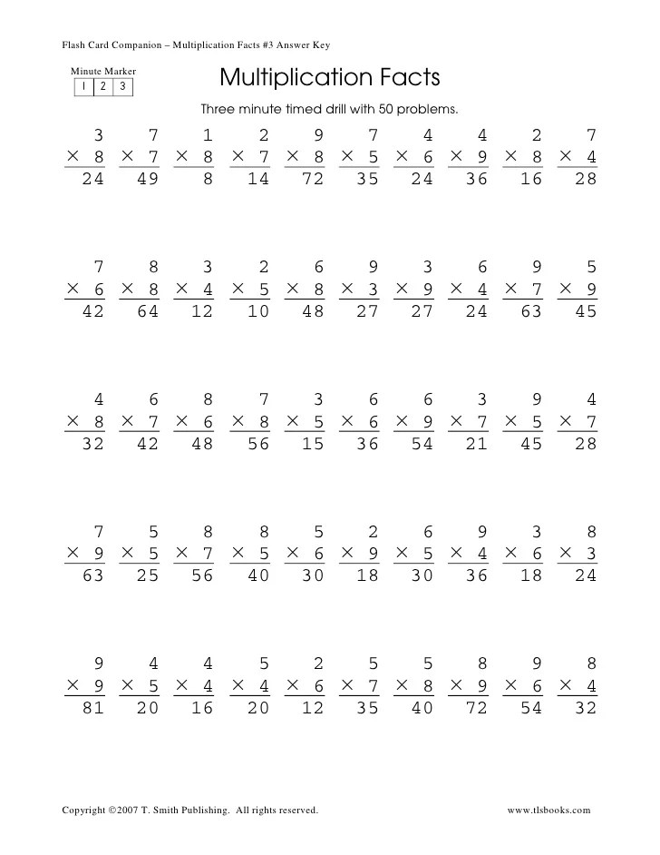 Timed Tests Multiplication 2 Minute