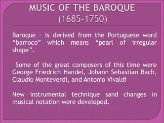baroque medieval renaissance characteristics musical developed instrumental melodies