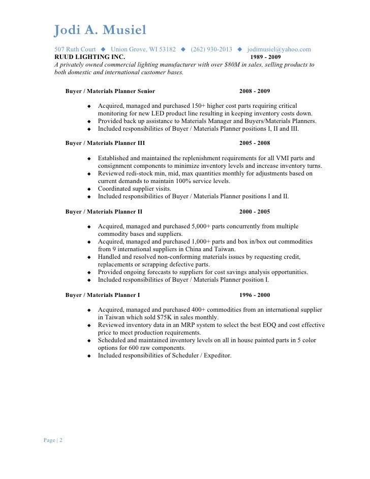 Musiel Jodi A Resume Parts Procurement Coordinator