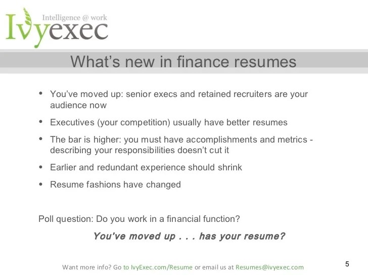 must avoid mistakes in financial services resumes