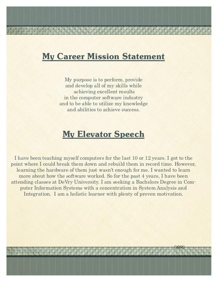 career portfolio mission statement example