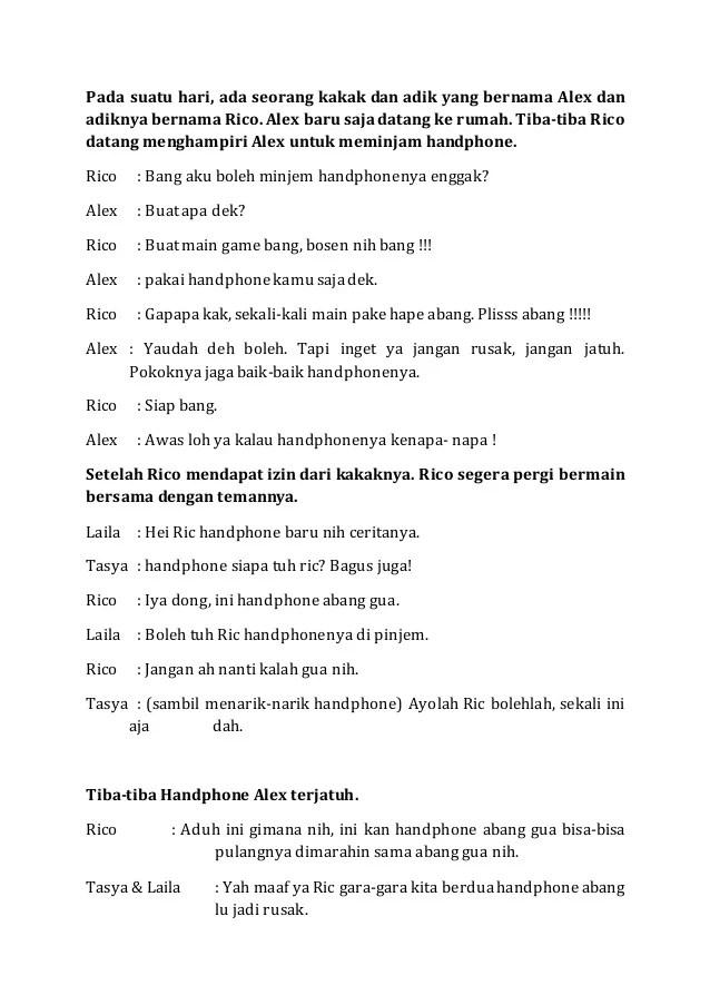 6 Contoh Teks Drama Pendek (Naskah) - Materi Kelas