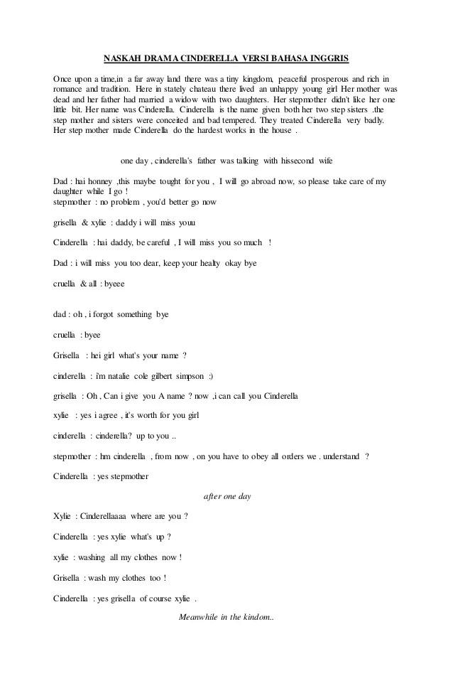 Teks Drama Bahasa Inggris : drama, bahasa, inggris, Naskah, Drama, Cinderella, Versi, Bahasa, Inggris