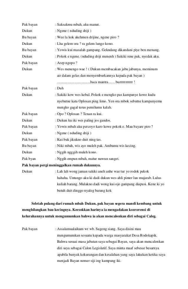 Contoh Drama Pendek Beserta Unsur Unsurnya : contoh, drama, pendek, beserta, unsur, unsurnya, Naskah, Drama, Bayan, Gagal, Nyaleg