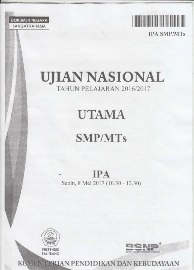 Soal Un Ipa Smp 2017 : NASKAH, TAHUN