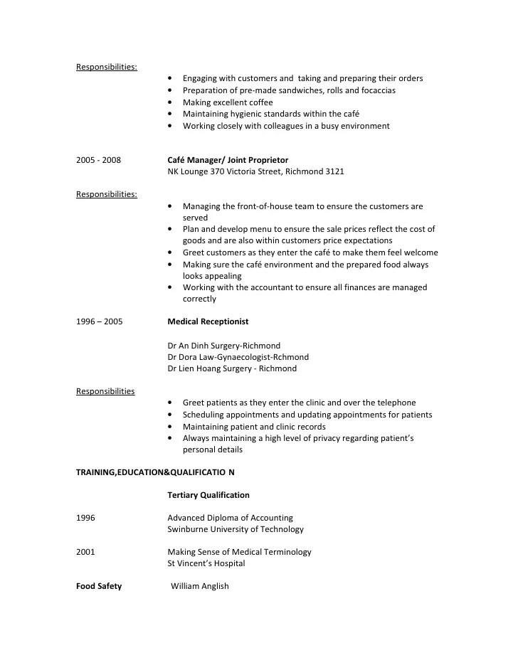 cafe attendant sample resume professional coffee shop attendant