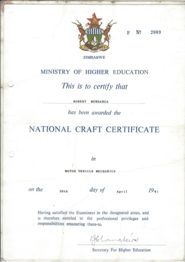 National craft certificate