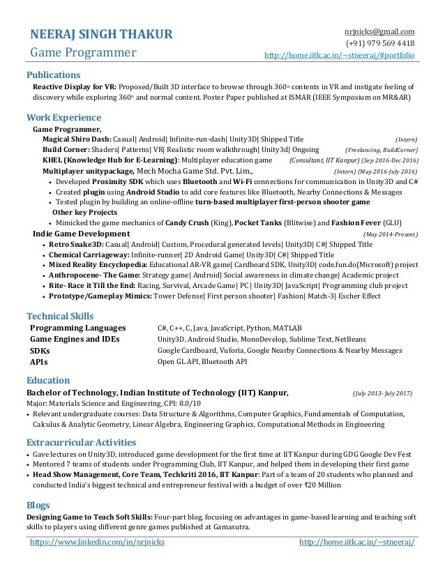 Game Developer Resume About Me - Resume Examples   Resume Template