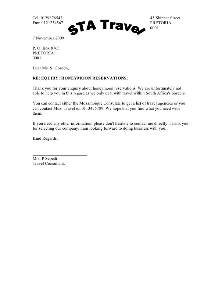 Response to inquiry letter sample