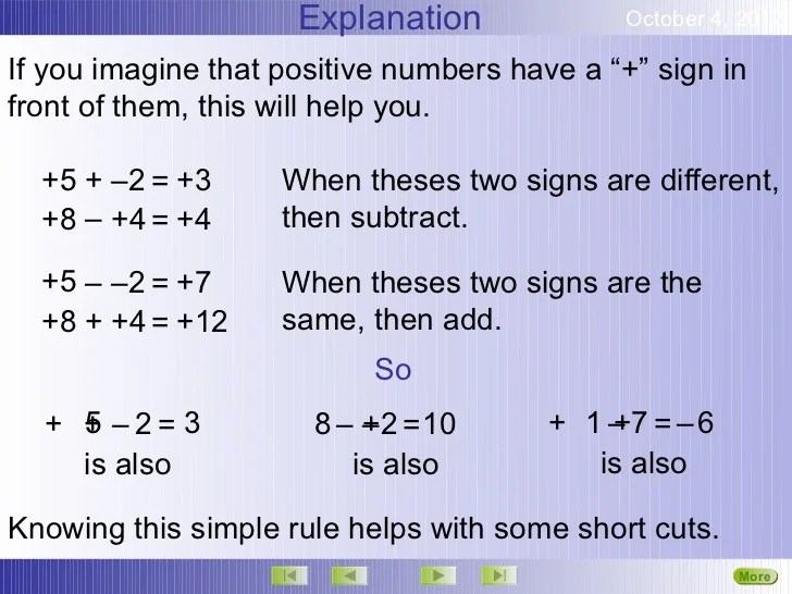 Math Worksheets Multiplying Positive And Negative Numbers