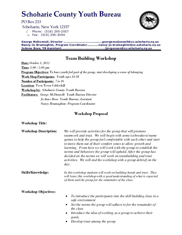 Life Skills Class Team Building Proposal