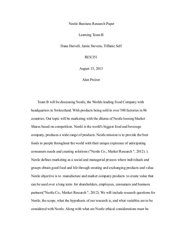 Business Research Paper Page Research Paper Example Business