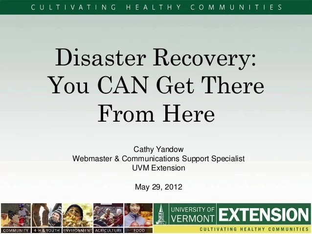 Disaster Recovery 2012 National Extension Technology