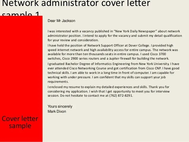 Cover Letter Network Administrator Physic Minimalistics Co