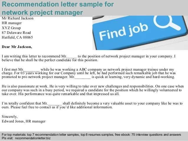 Network Project Manager Recommendation Letter