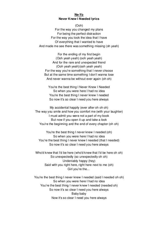 Ooh Baby I Need You In My Life Lyrics : lyrics, Never, Needed