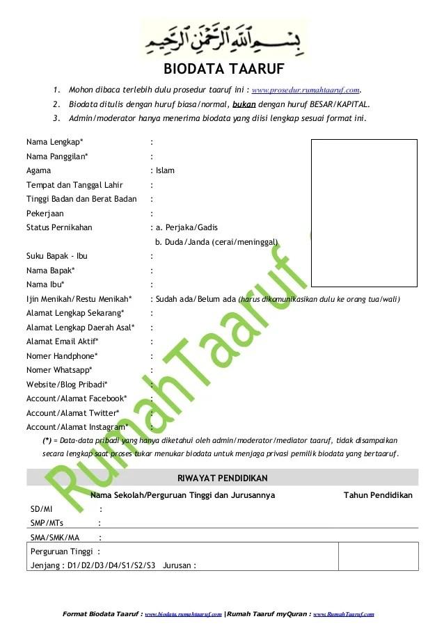Contoh Proposal Ta Aruf : contoh, proposal, Biodata, Taaruf