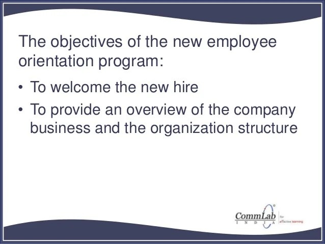 Basic Structure for New Employee Orientation Course