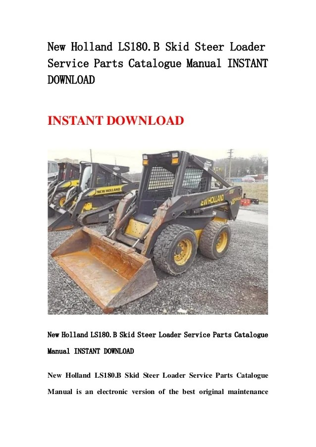 New holland ls180b skid steer loader service parts