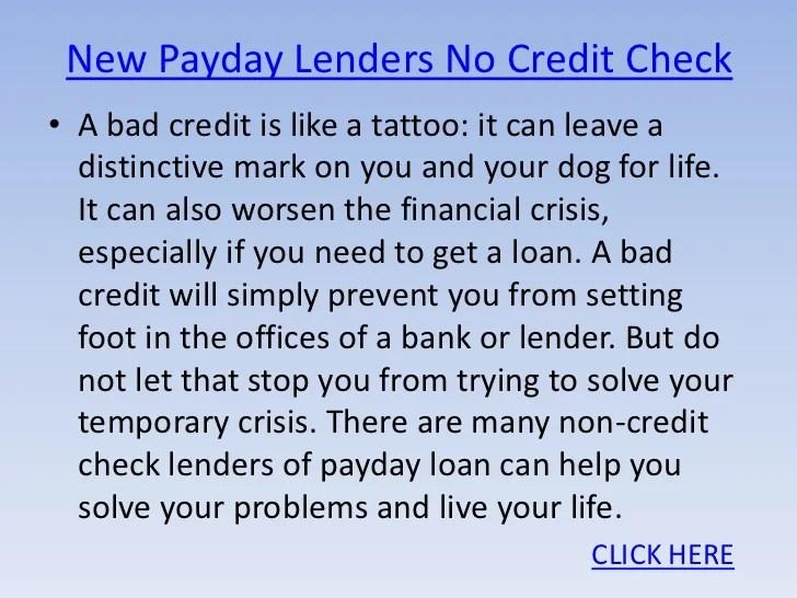 New Payday Lenders No Credit Check