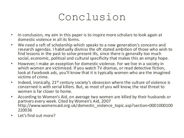 Research Paper On Domestic Violence Conclusion Research Paper