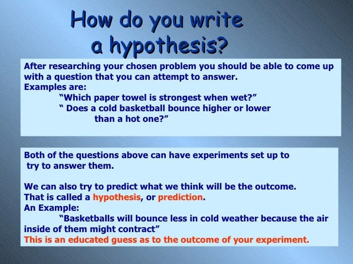 Research Question and Hypothesis Exercise