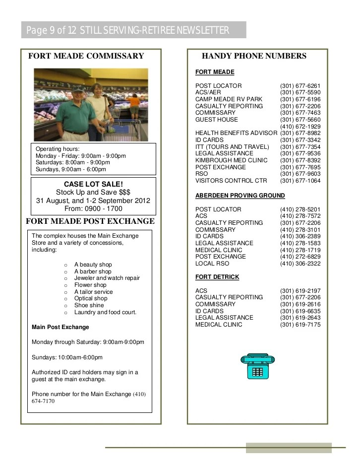 Fort Meade Retirement Services Bulletin