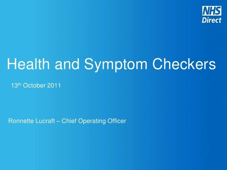 NHS Health and Symptoms Checker Digital Leaders Presentation 23102