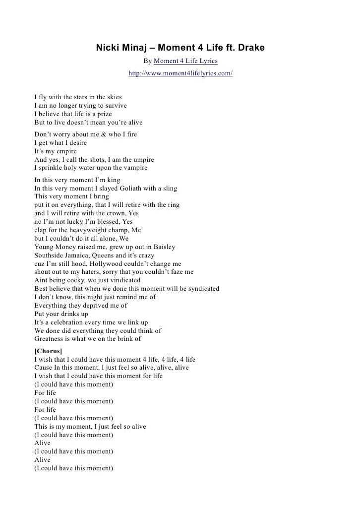 Lirik From This Moment : lirik, moment, Nicki, Minaj, Moment, Drake, Lyrics