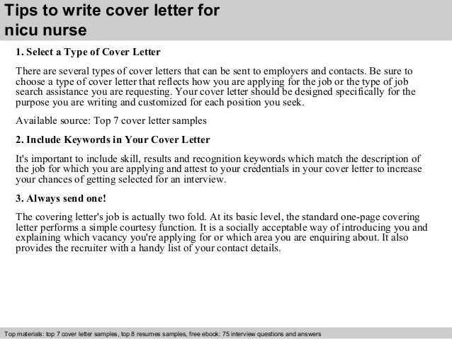 nicu cover letters