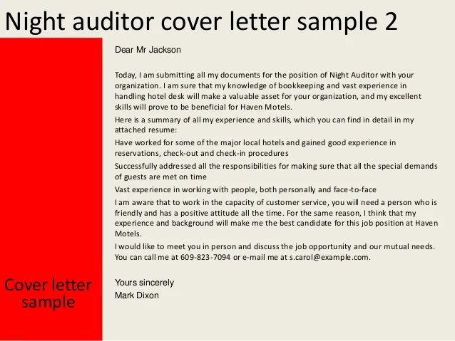 cover letter for night auditor