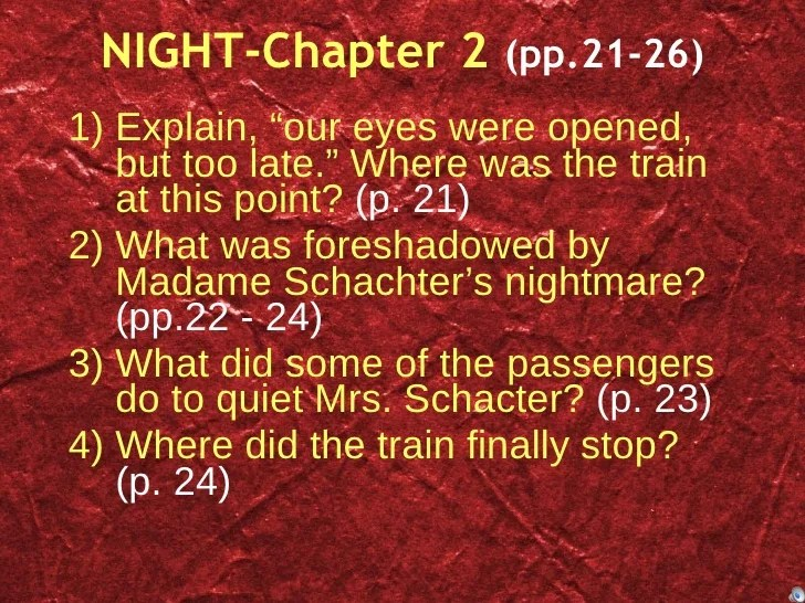 Night—study Questions Chapter By Chapter