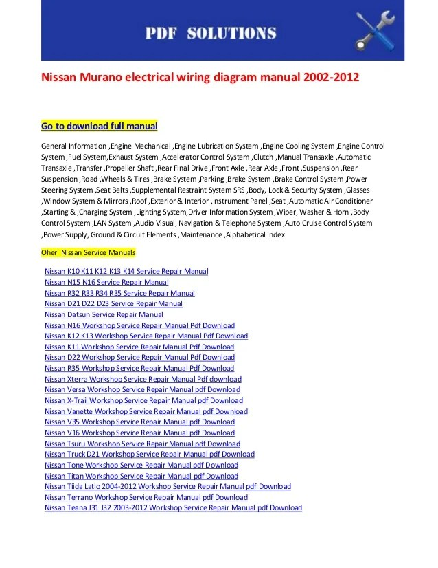 nissan murano wiring diagram basic car electrical lights manual 2002 2012