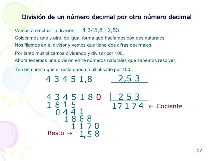 Un 7 Division De Numeros Decimales Con Numeros Y Letras Corona Todays