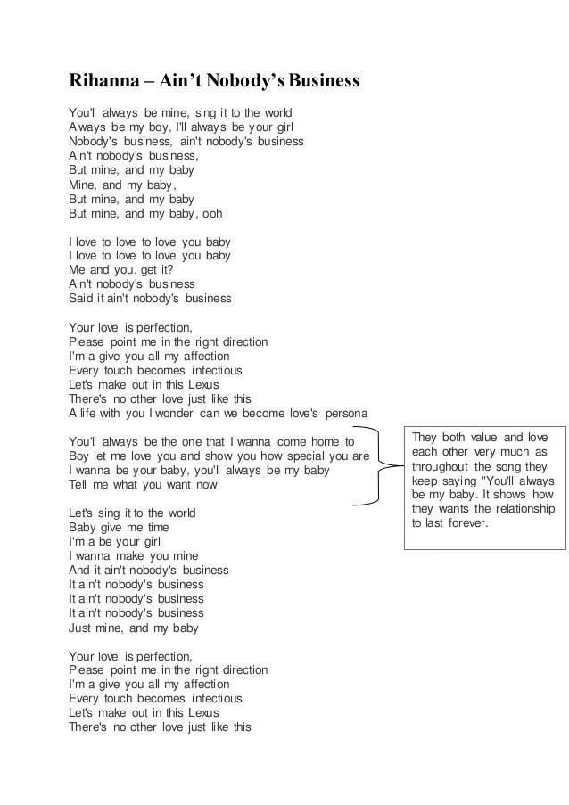 Love And Affection Lyrics Rihanna : affection, lyrics, rihanna, Nobody's, Business, Annotated, Lyrics