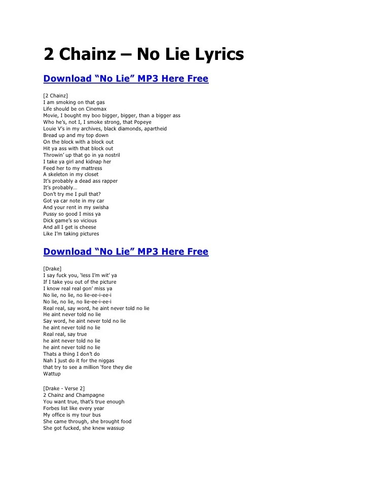 Drake Lie To Me Lyrics : drake, lyrics, Chainz, Drake, Lyrics, Download