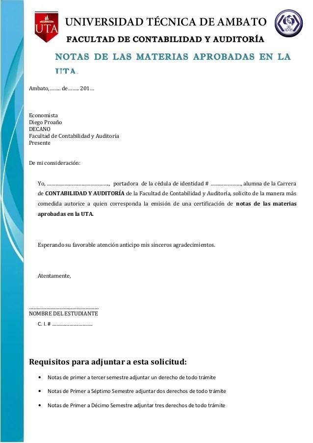 solicitud Notas uta